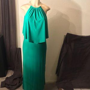 Dress Barn Emerald Green Dress, Gold Chain Straps